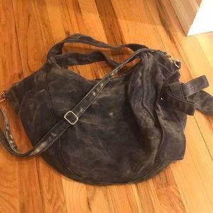 Handbags - Denim double strap bag can be worn as cross body